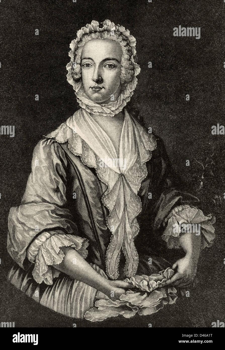 Charles Edward Stuart (1720-1788). Scottish aristocrat. Prince Charles Edward Stuart disguised as Betty Burke, 1747. - Stock Image