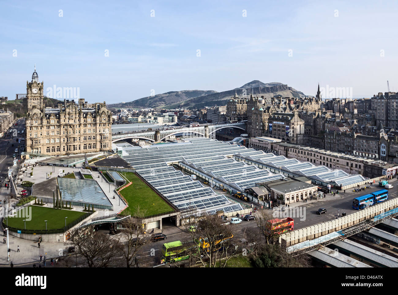 Edinburgh Waverley Railway Station new roof seen from the Sir Walter Scott Monument - Stock Image