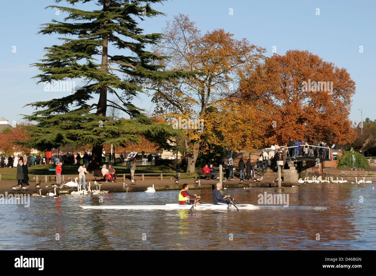 Autumn River Avon scene Stratford Upon Avon Warwickshire England UK - Stock Image