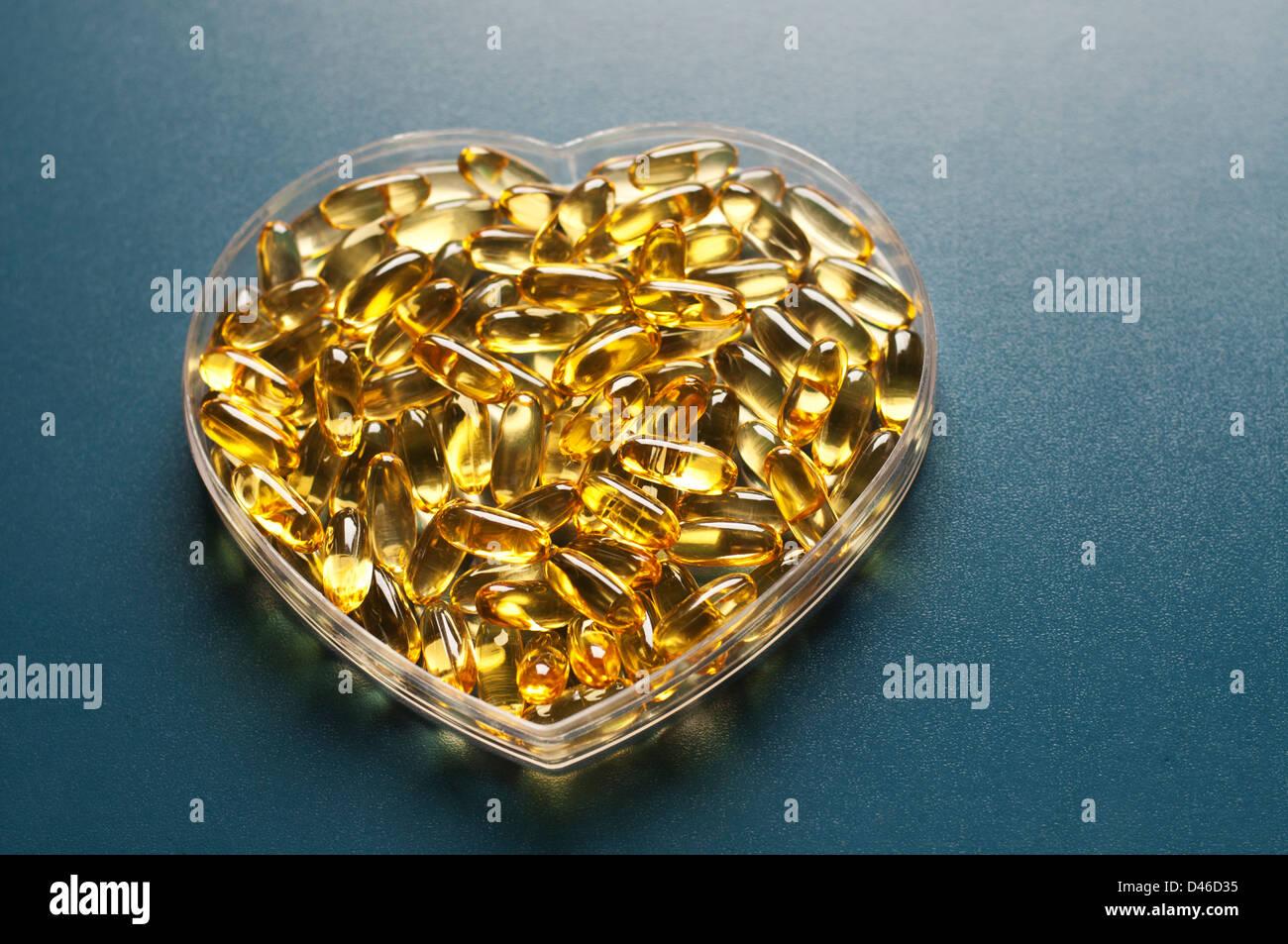 Evening primrose oil capsules Stock Photo