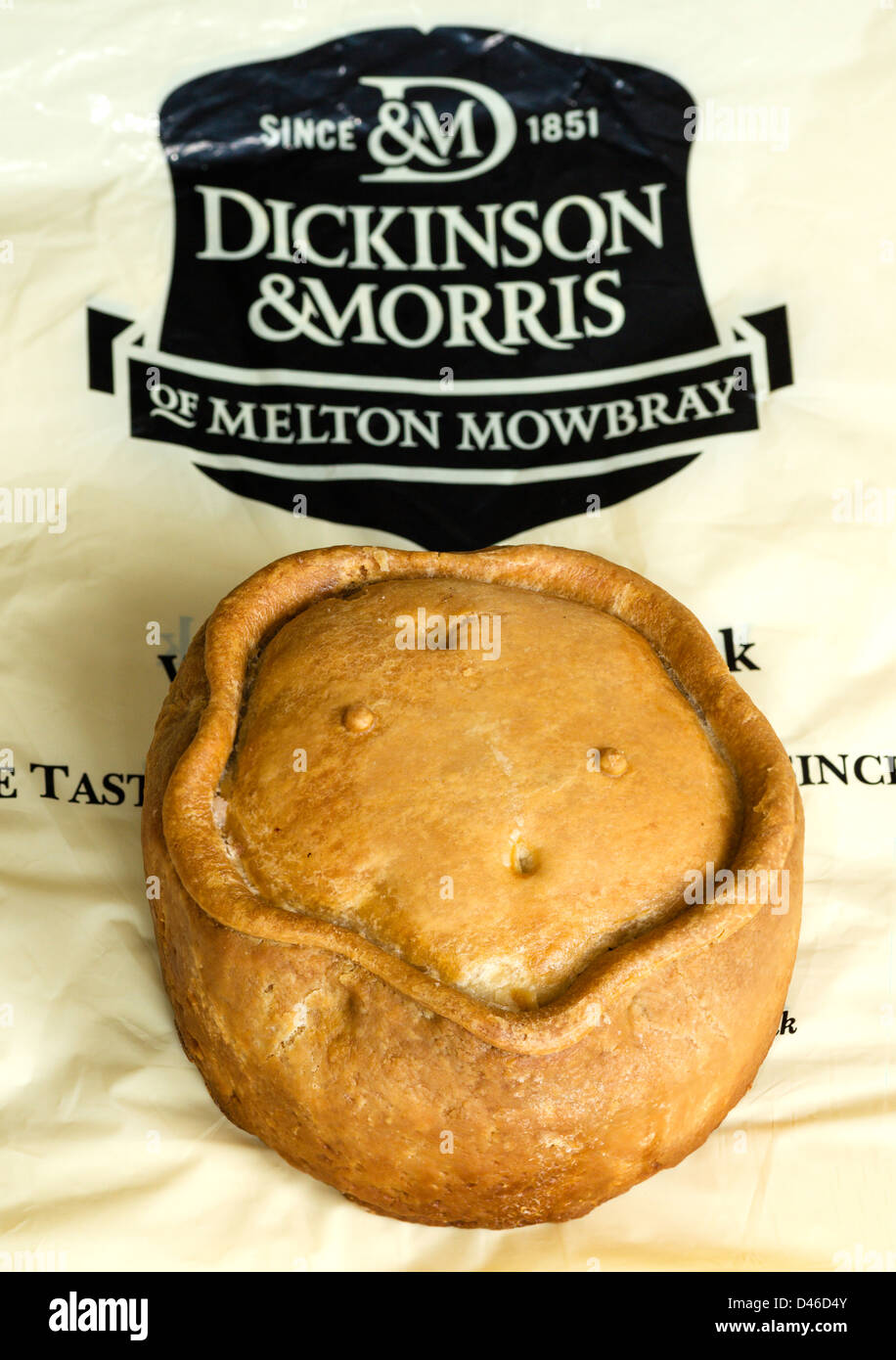 Giant (almost 1kg) genuine Melton Mowbray Pork Pie from Ye Olde Pie Shoppe (Dickinson and Morris), Melton Mowbray, - Stock Image