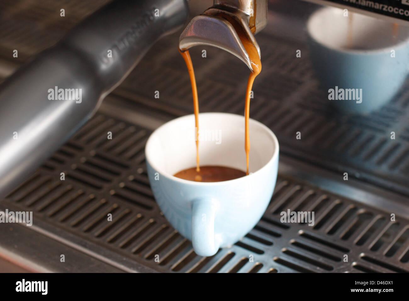 Espresso being brewed - Stock Image