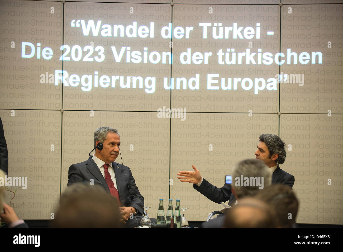 Deputy Prime Minister of Turkey Bülent Arinç gives a speech about the 2023 Vision of the Turkish Government - Stock Image