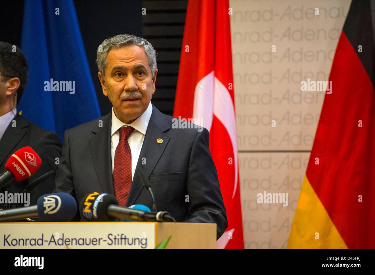 Berlin, Germany. 6th March, 2013.  Deputy Prime Minister of Turkey Bülent Arinç gives a speech about the - Stock Image