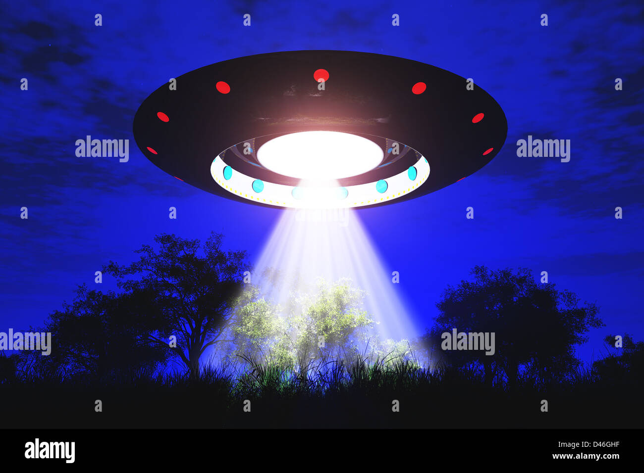 Ufo Flying on Earth at Night over Field - Stock Image