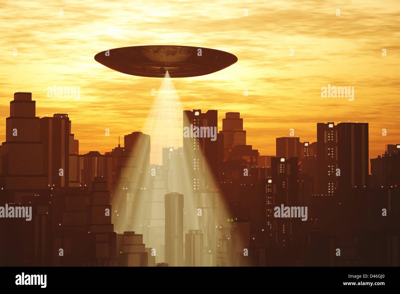 Ufo Invasion over Metropolis - Stock Image