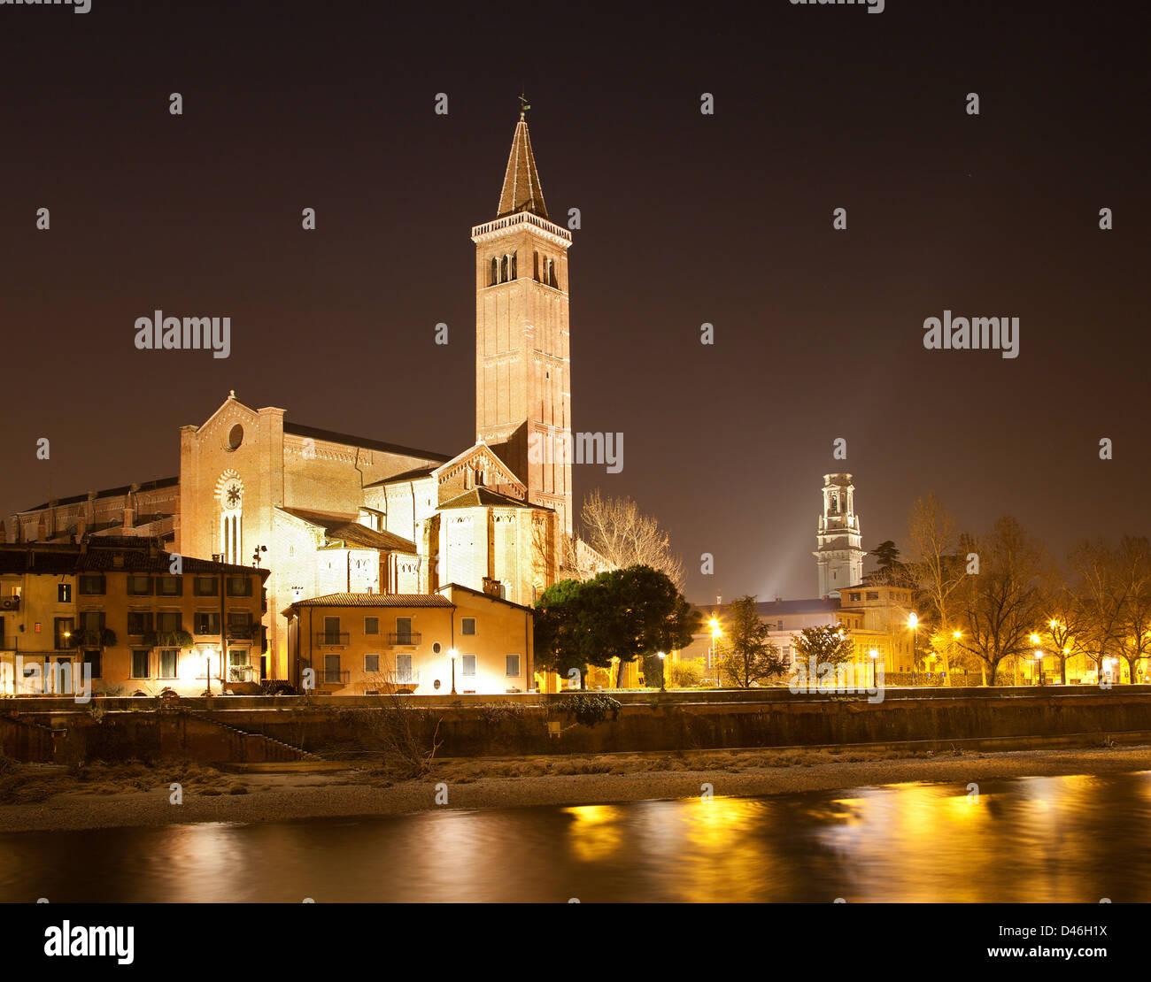 Verona - Adige river and Santa Anastasia church at night - Stock Image