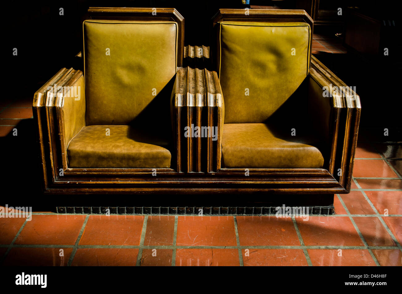 Seating in the waiting area of union station, los angeles Stock Photo