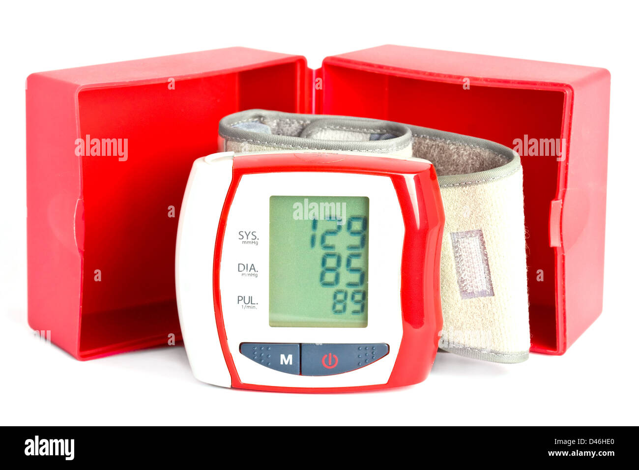 Wrist blood pressure meter with box and data on the display. - Stock Image