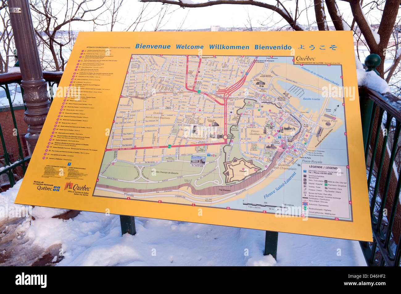 Tourist attraction board and street map of Quebec City, Canada Stock on