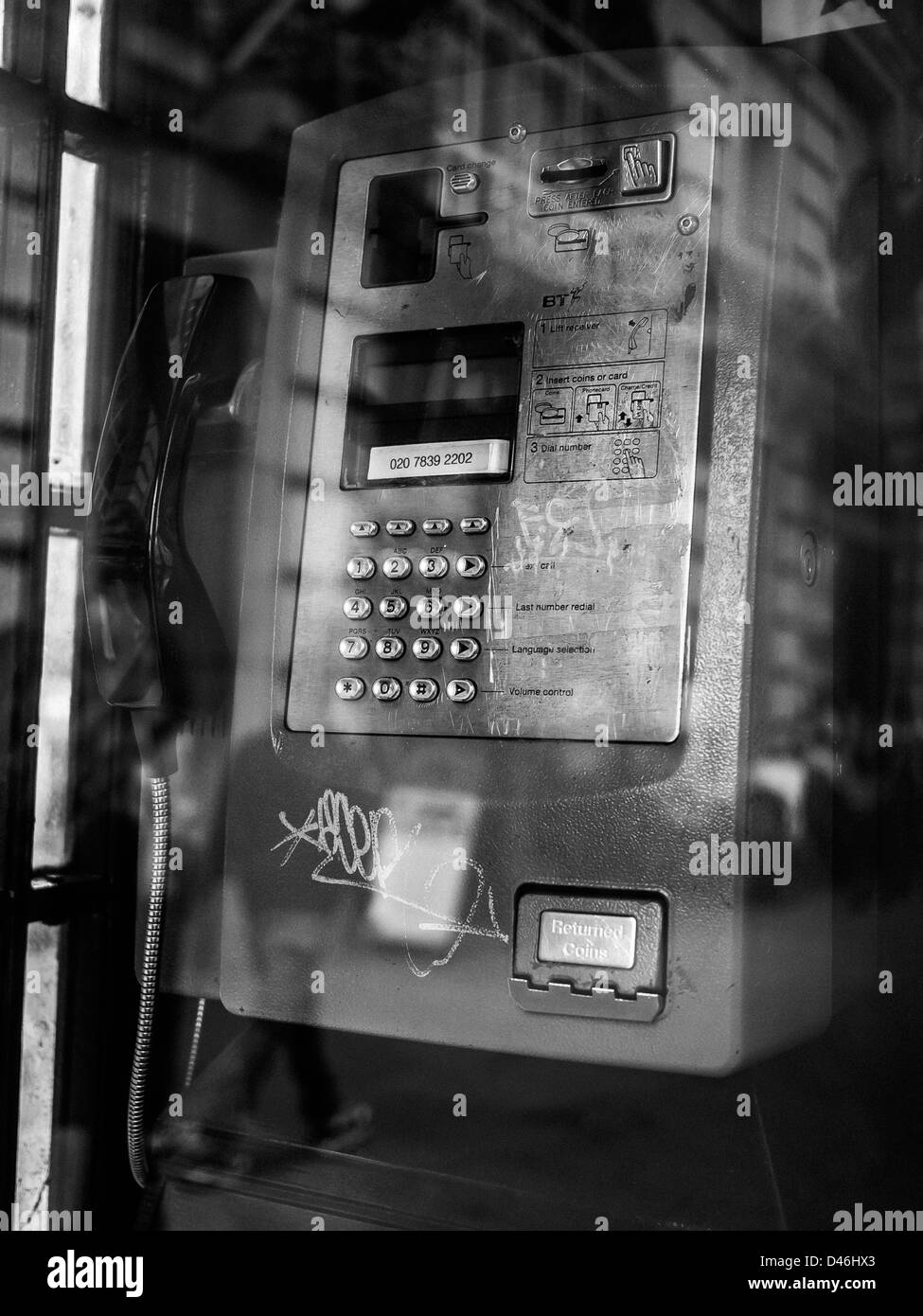 Public Telephone Box in central London - Stock Image