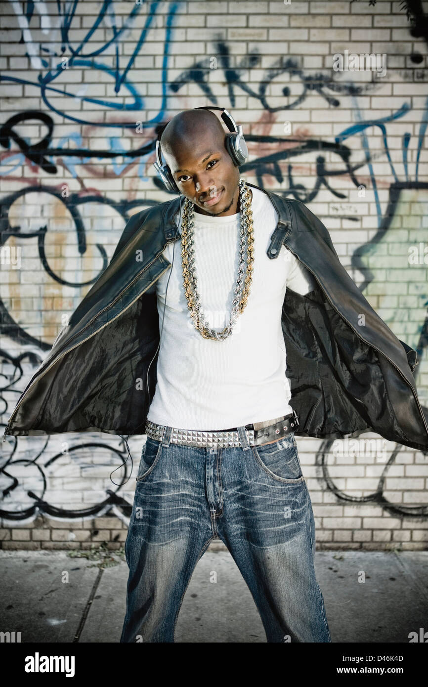 Urban portrait of a handsome black man - Stock Image