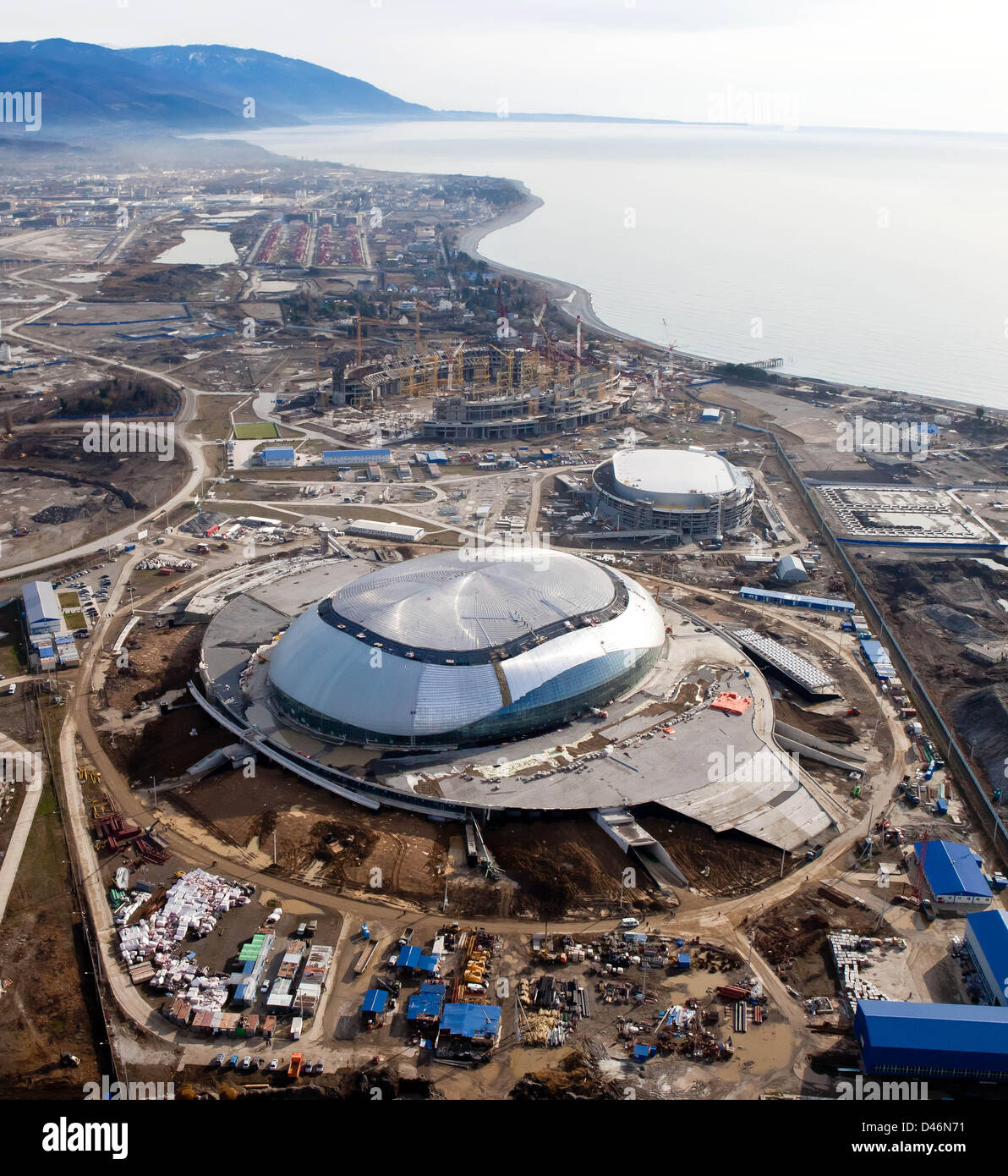 Aerial view of the Olympic Park, DECEMBER 14, 2011 - Olympic Preview : (F-B) The Bolshoy ice dome, the ice hockey - Stock Image