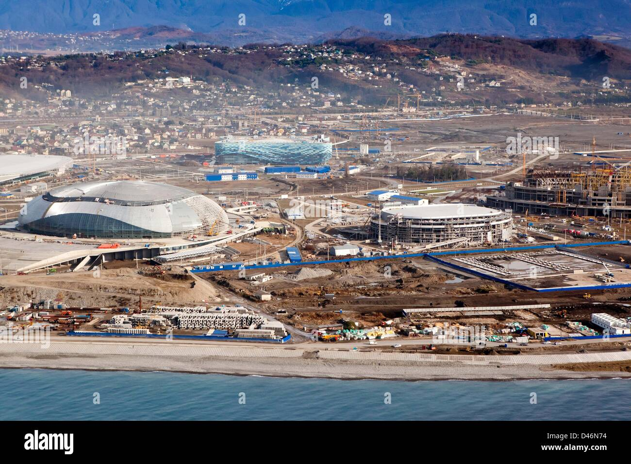 Aerial view of the Olympic Park, DECEMBER 14, 2011 - Olympic Preview : (L-R) The Bolshoy ice dome, the ice hockey - Stock Image