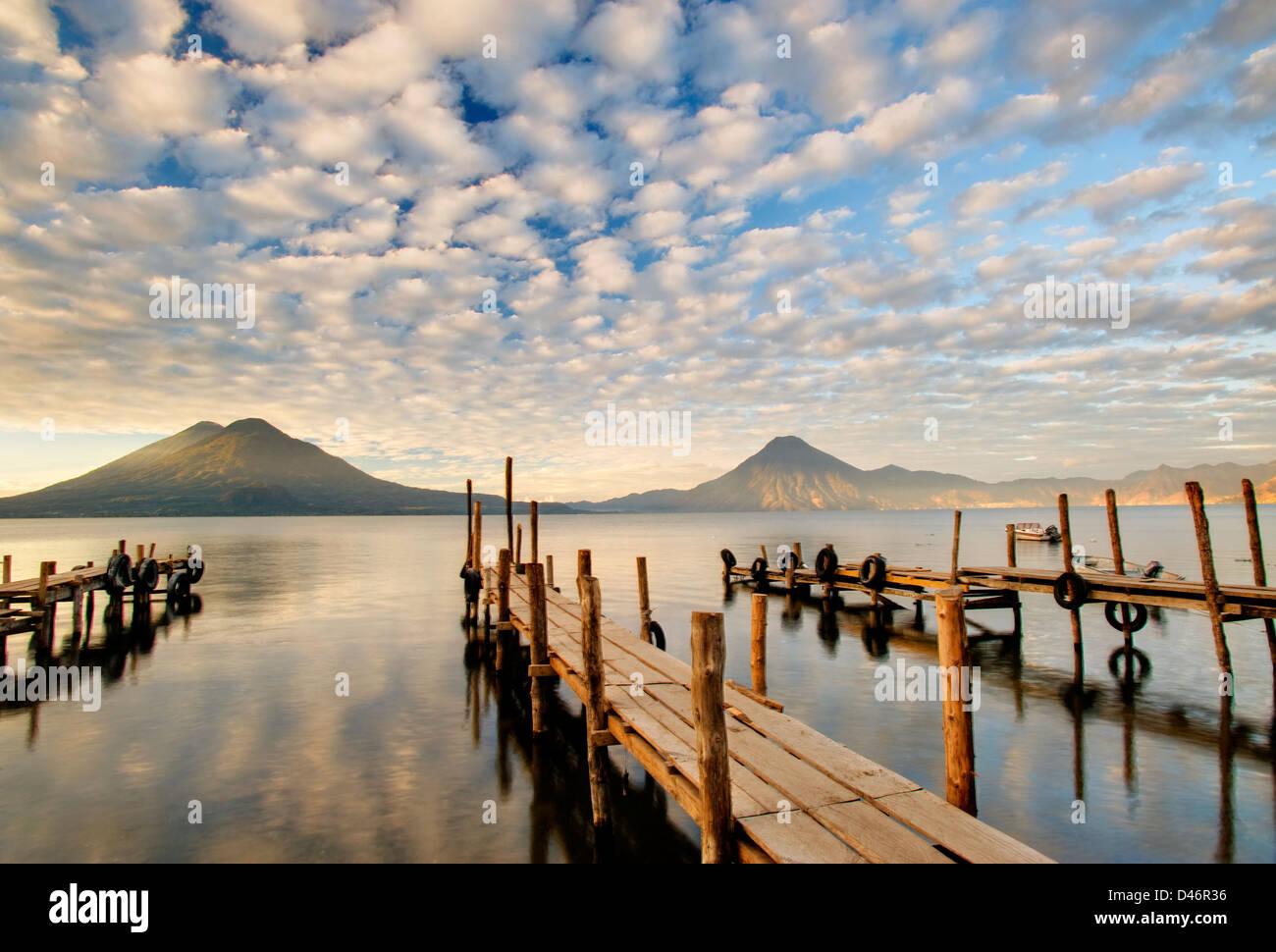Docks at Lake Atitlan, Guatemala - Stock Image