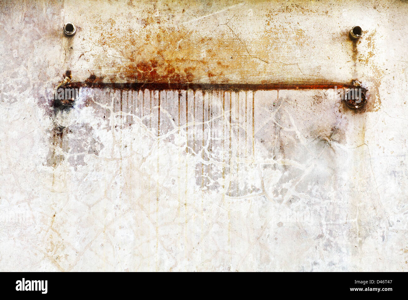 Stains on a wall from an old fixture - Stock Image