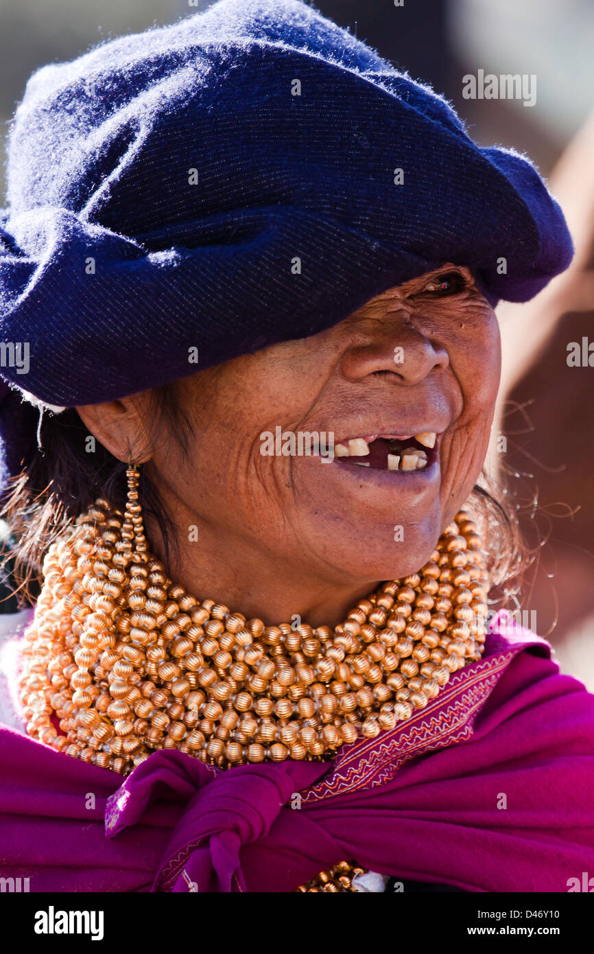 An older native woman in an Indian market in the town of Otavalo, Equador. NMR - Stock Image