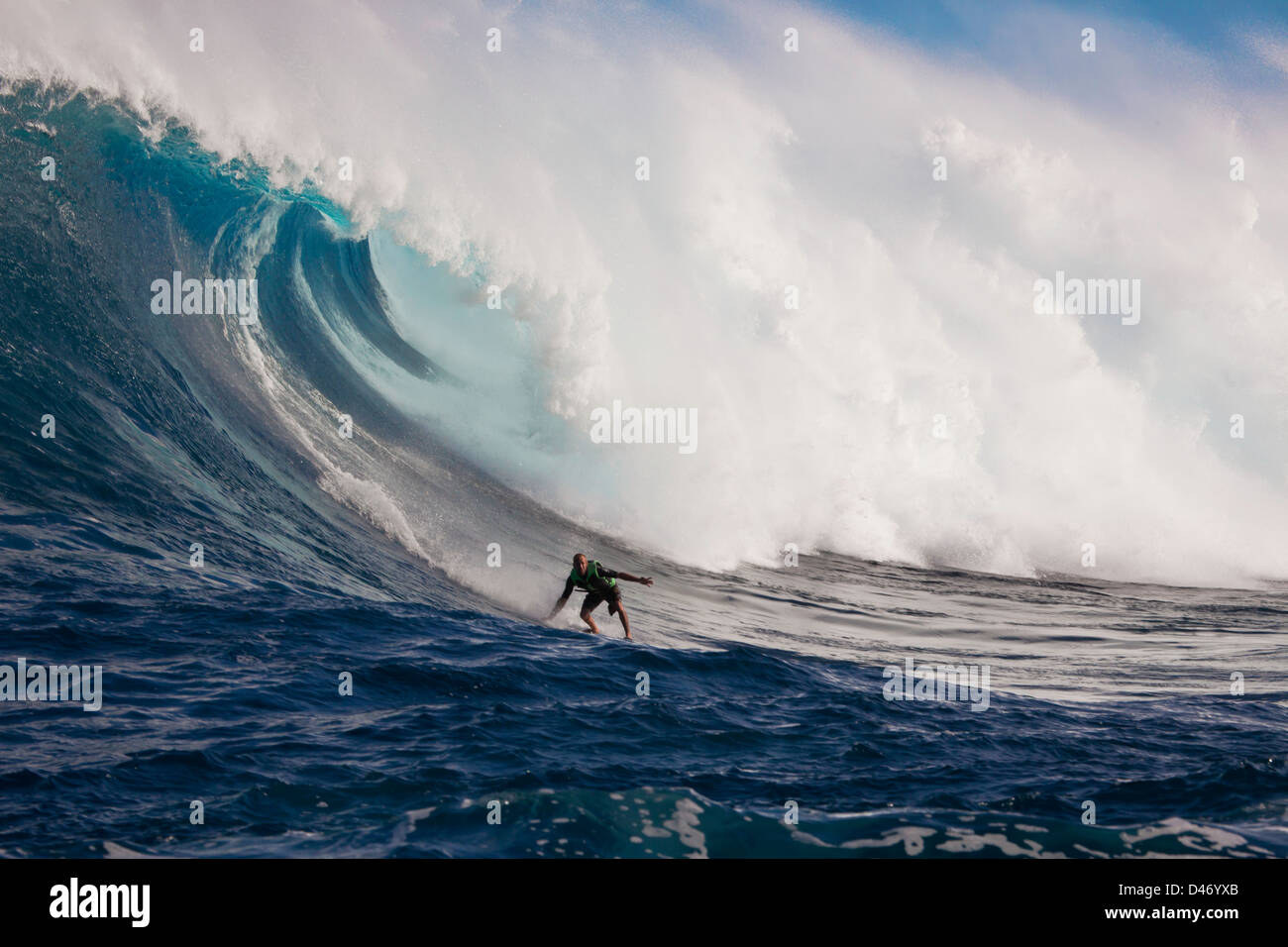 A tow-in surfer drops down the face of Hawaii's big surf at Peahi (Jaws) off Maui, Hawaii, USA. Stock Photo