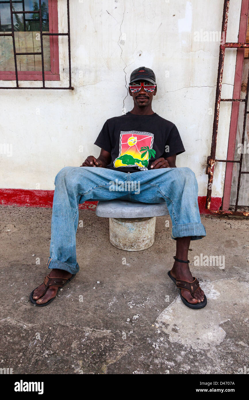 Portrait of a local man, Micoud, St Lucia - Stock Image