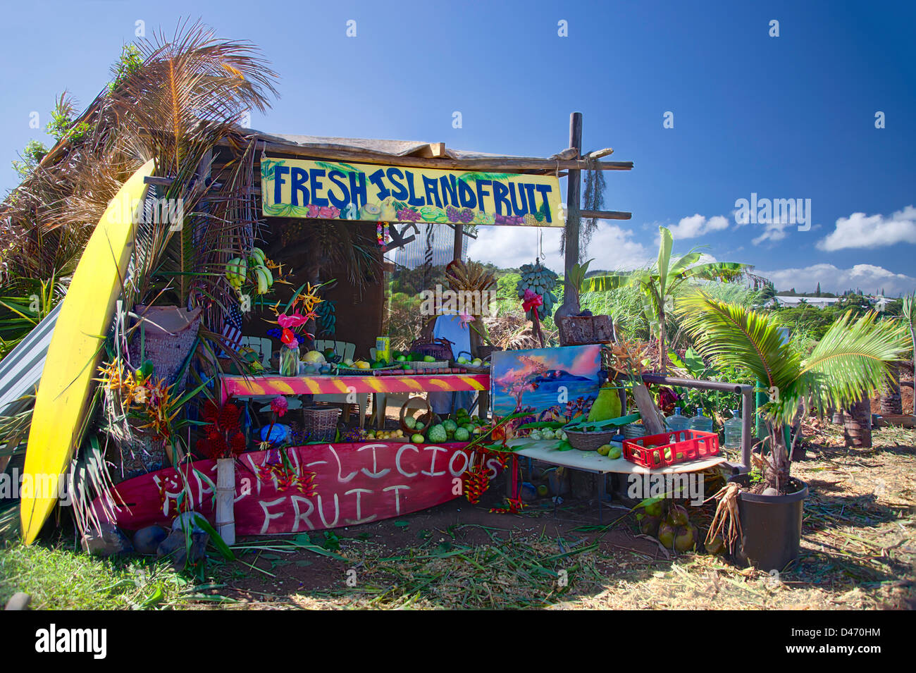 Three image exposures were combined for this photograph of a fruit stand on the Hana Highway, Maui, Hawaii. Stock Photo