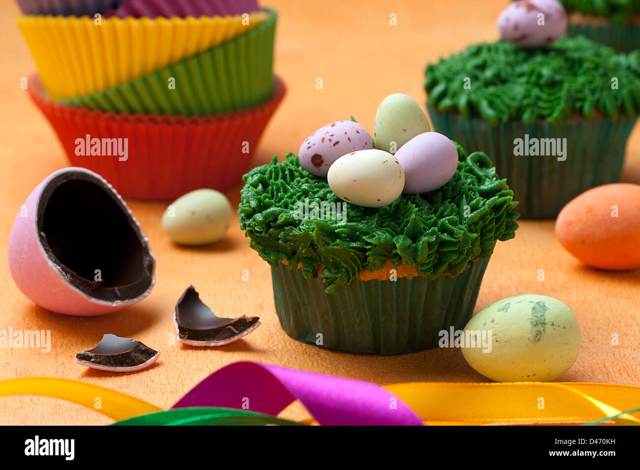 Easter Cupcakes. - Stock Image