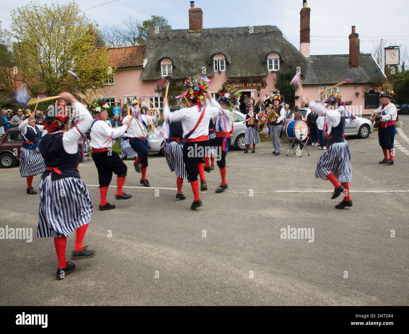 Morris dancing in country village Shottisham, Suffolk, England - Stock Image