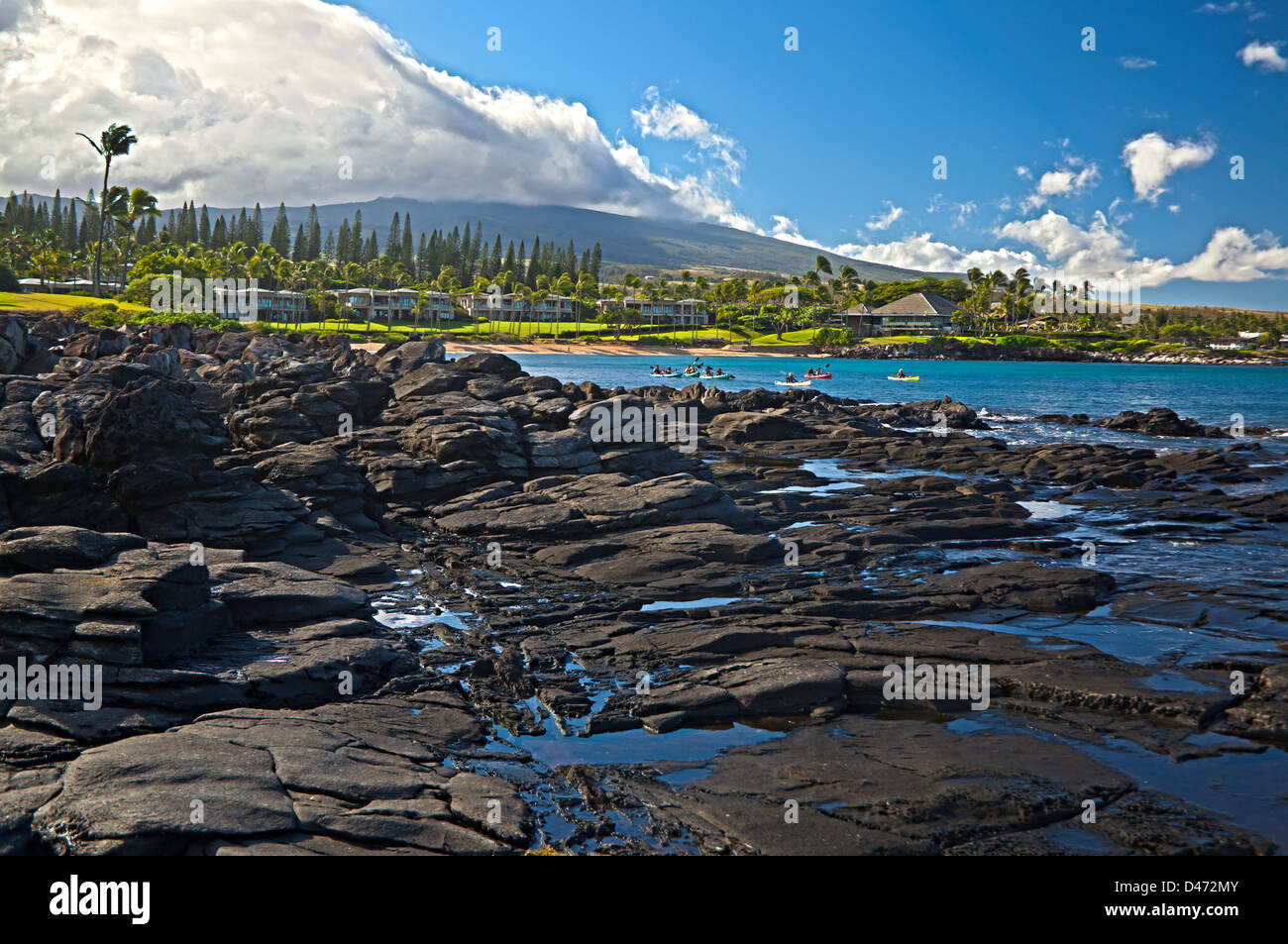 Kayak group in Kapalua Bay, Maui, Hawaii. Three images were digitally combined to create this HDR image. - Stock Image