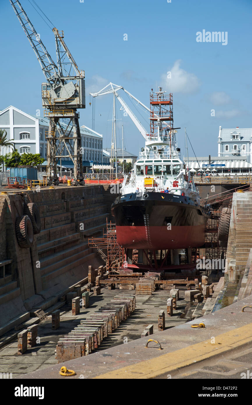 Pinotage an ocean going tug in dry dock Cape Town South Africa - Stock Image