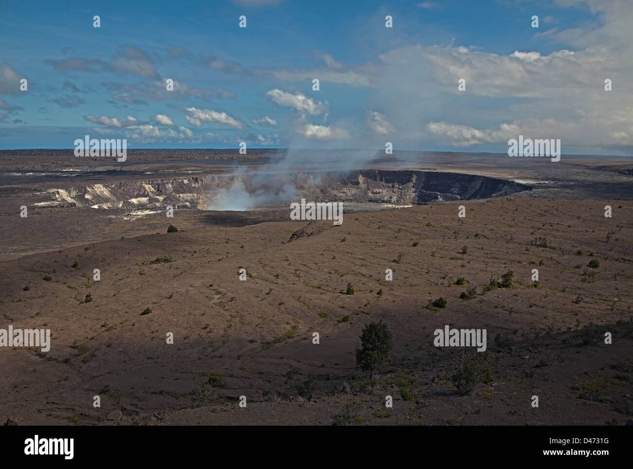 Halemaumau Crater in Volcanos National Park on The Big Island became active again in 2011. - Stock Image