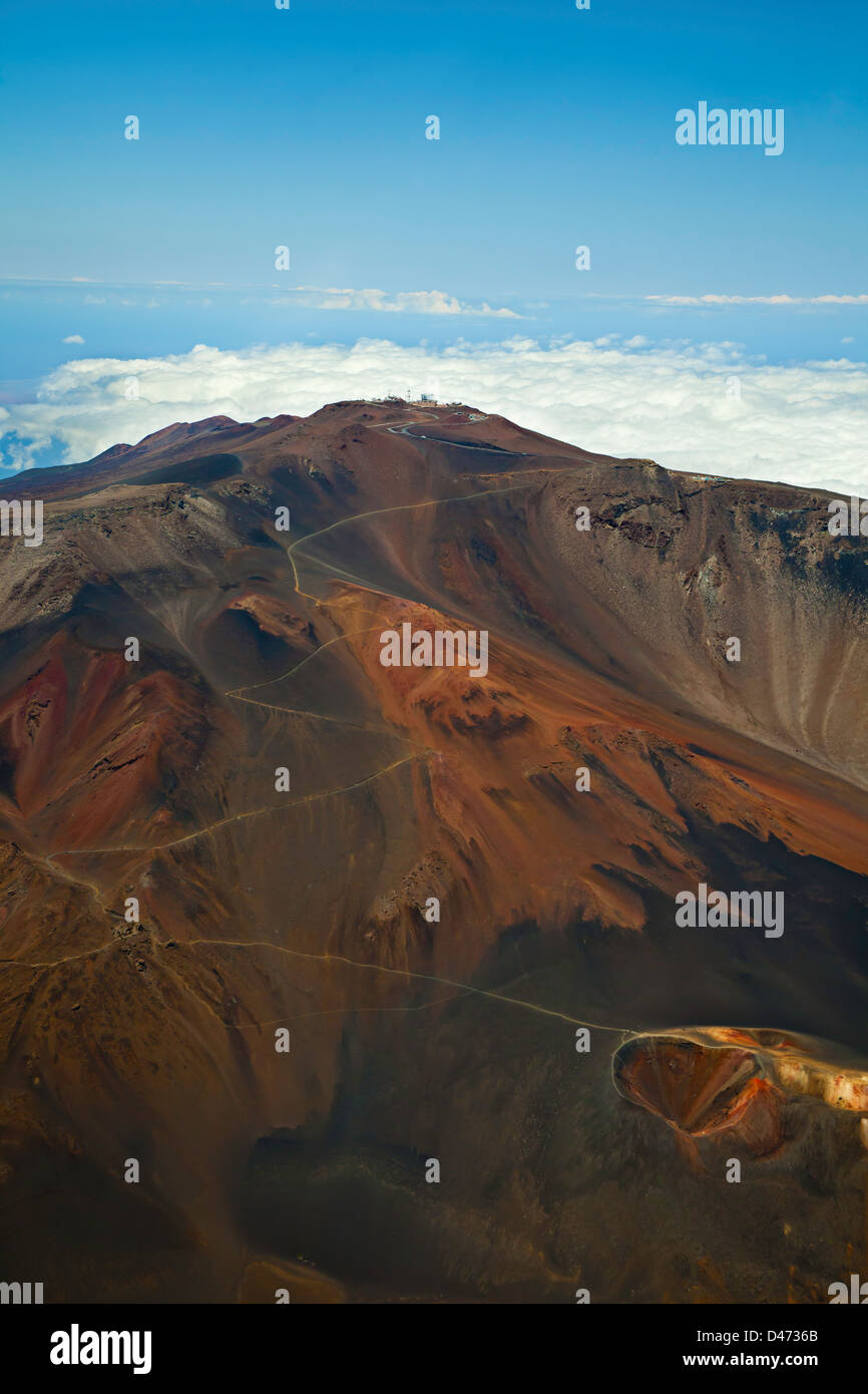 An aerial view of Haleakala Crater at the summit in Haleakala National Park, Maui's dormant volcano, Hawaii. - Stock Image