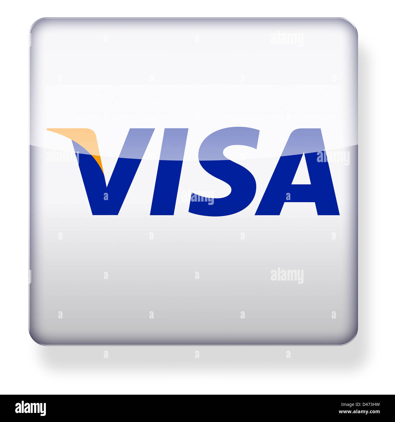 Visa logo as an app icon. Clipping path included. - Stock Image