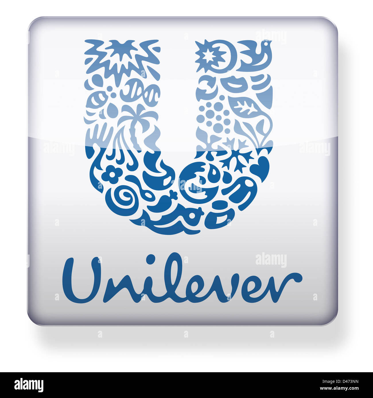 Unilever logo as an app icon. Clipping path included. Stock Photo