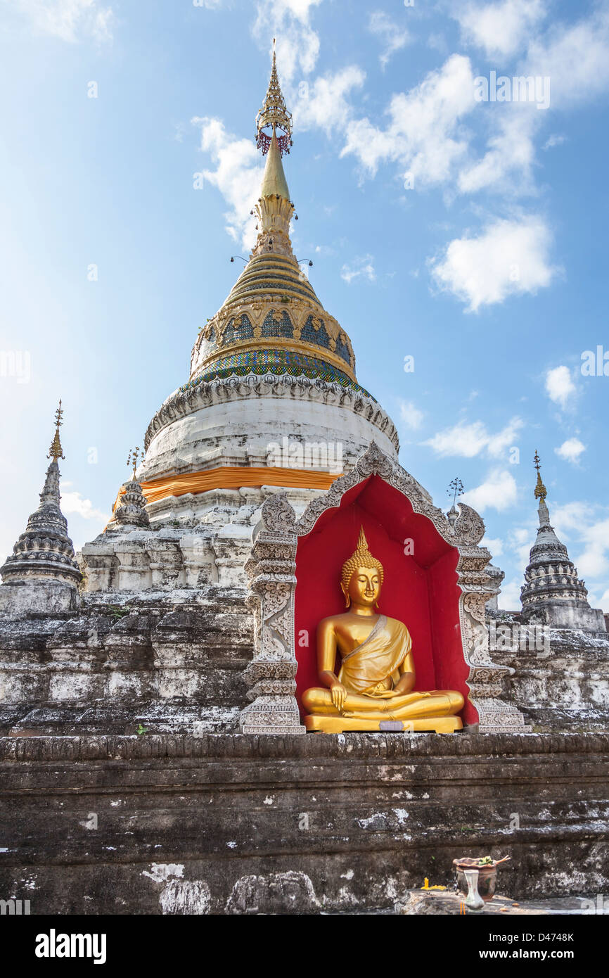 Seated Buddha at Wat Buppharam temple Chiang Mai Thailand Stock Photo