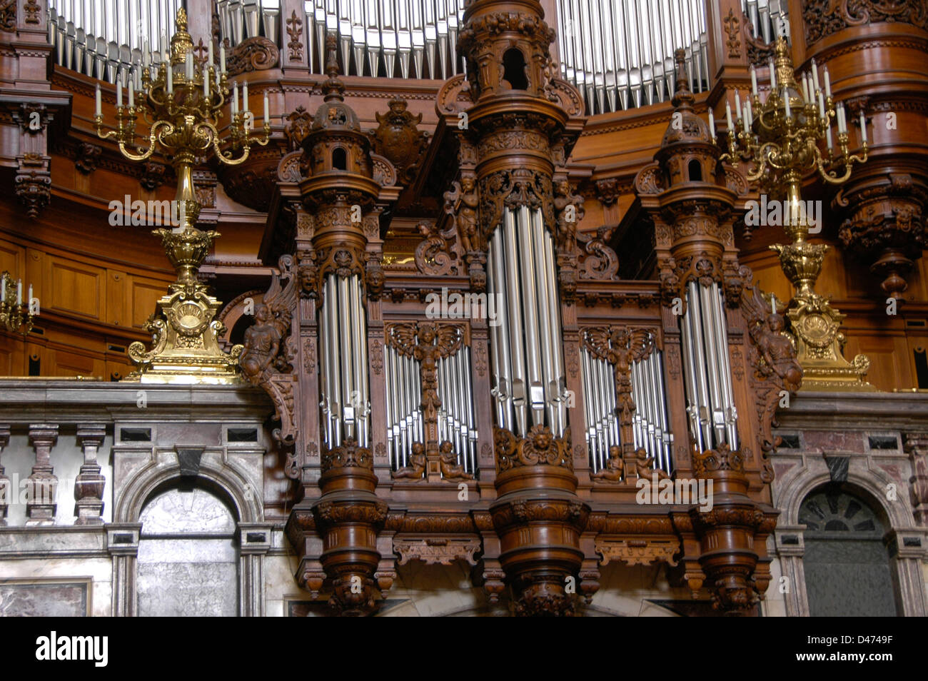 Berlin cathedral (Berliner Dom), Germany. The large Sauer Organ with 7269 pipes - Stock Image