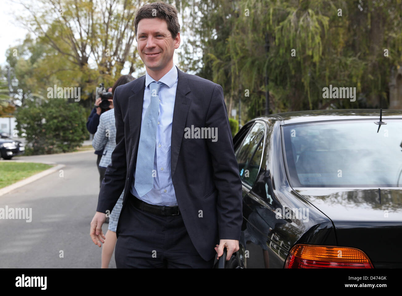 Nicosia, Cyprus. 7th March 2013. Maarten Verwey from European Commision arriving at the presidential palace for - Stock Image