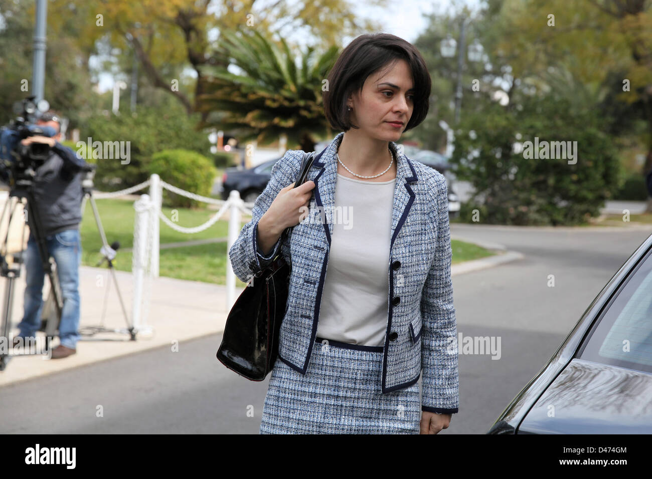 Nicosia, Cyprus. 7th March 2013. Delia Velculescu from IMF arriving at the Presidential Palace in capital Nicosia - Stock Image