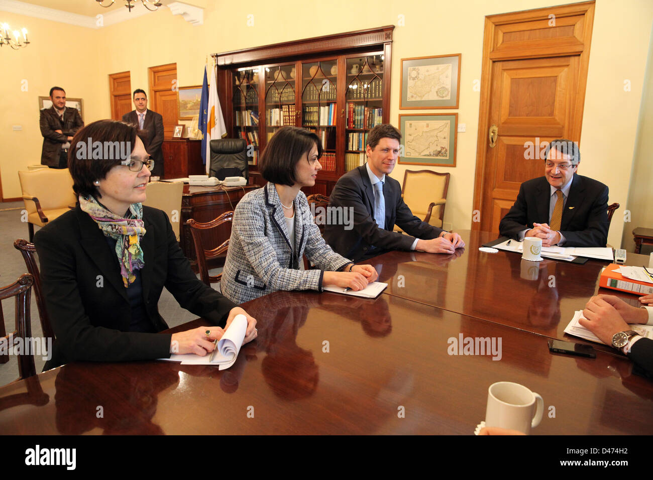 Nicosia, Cyprus. 7th March 2013. From Left to right  Isabel von Köppen-Mertes from Central Bank,Delia Velculescu - Stock Image