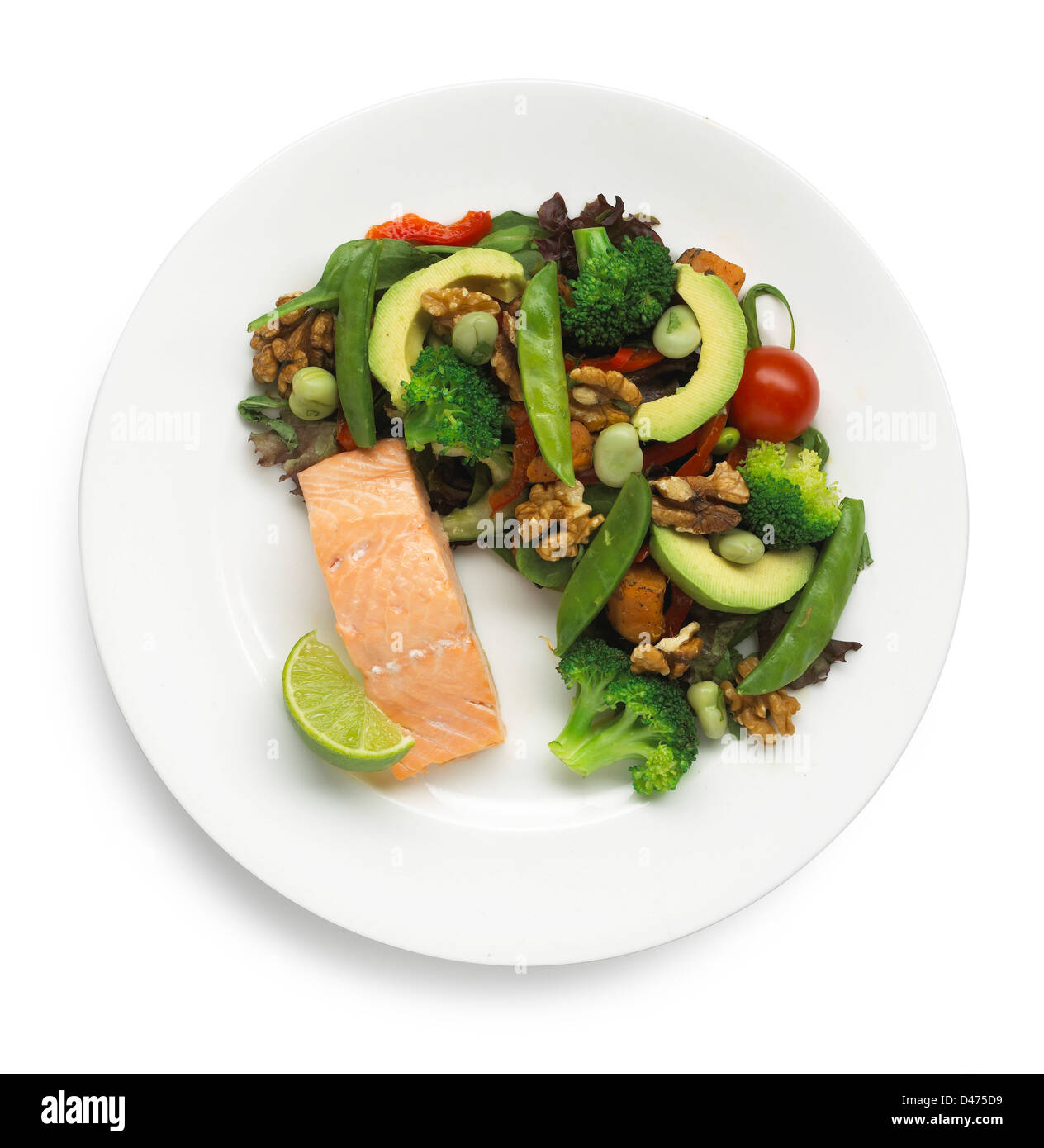 Plate of salmon with salad cut out white background - Stock Image