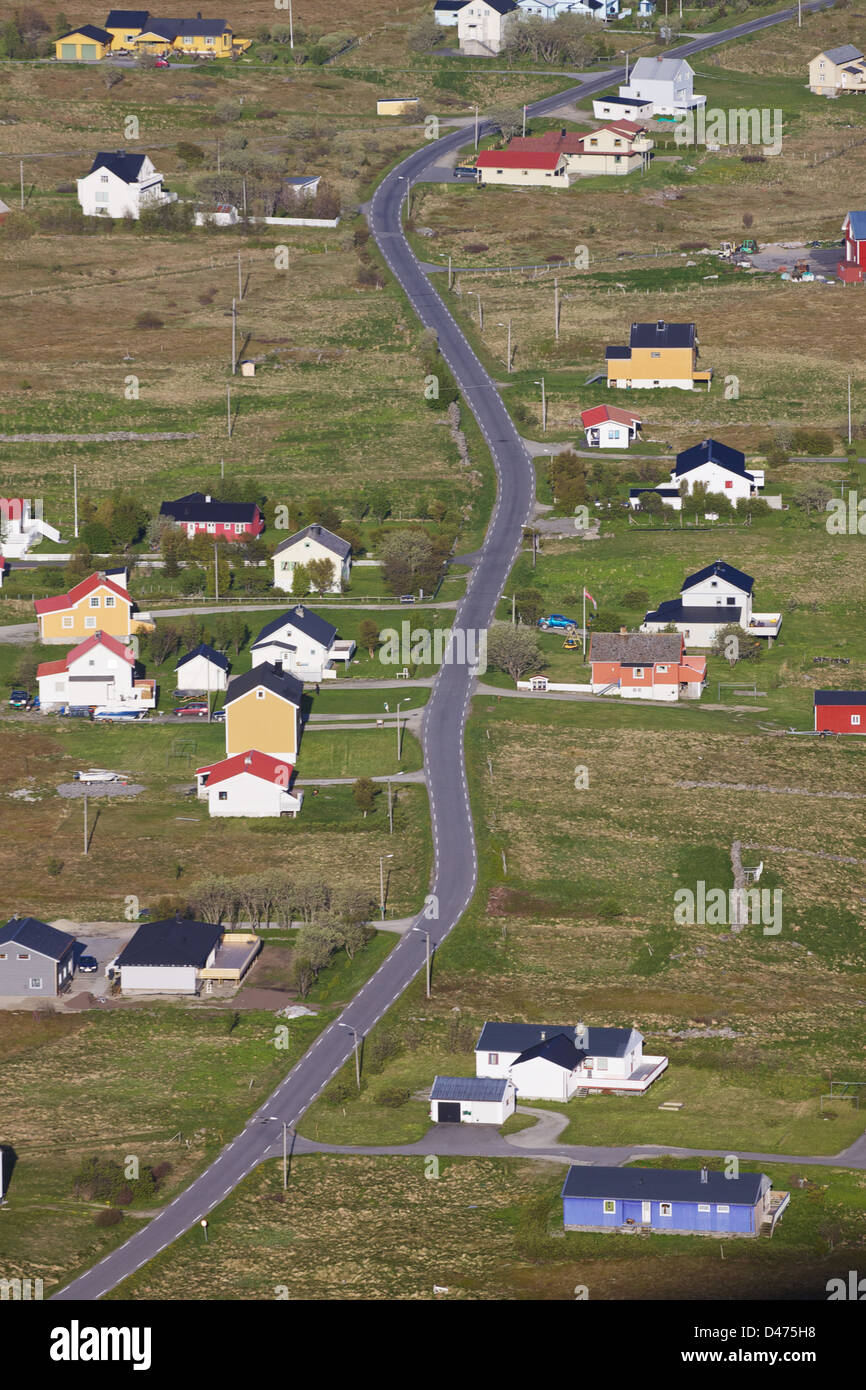 Aerial view of scenic town Sorland on island Vaeroy, Lofoten islands, Norway - Stock Image