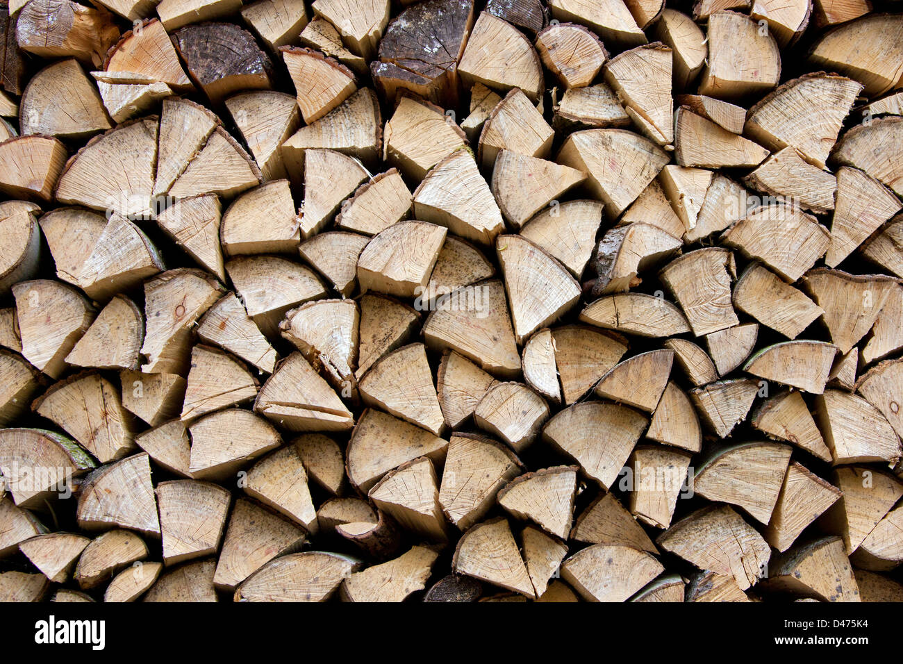 Pile of stacked firewood, chumps of chopped beech wood to use as fuel for wood-burning stove - Stock Image