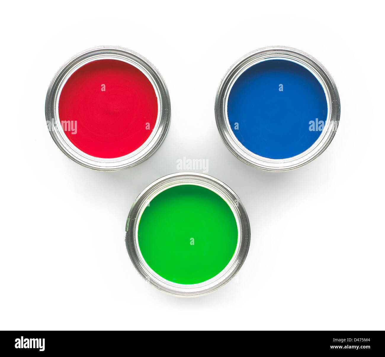Pots of red blue and green paints - Stock Image