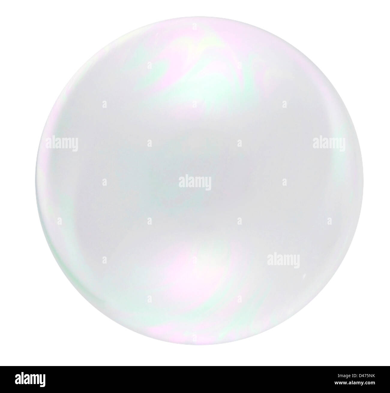 Single bubble cut out on white background - Stock Image