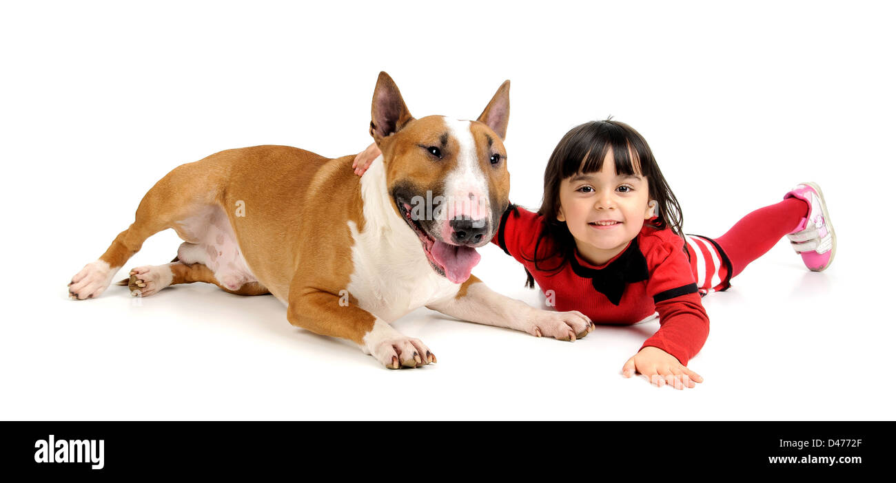 Cute young girl posing with her Bull Terrier - Stock Image