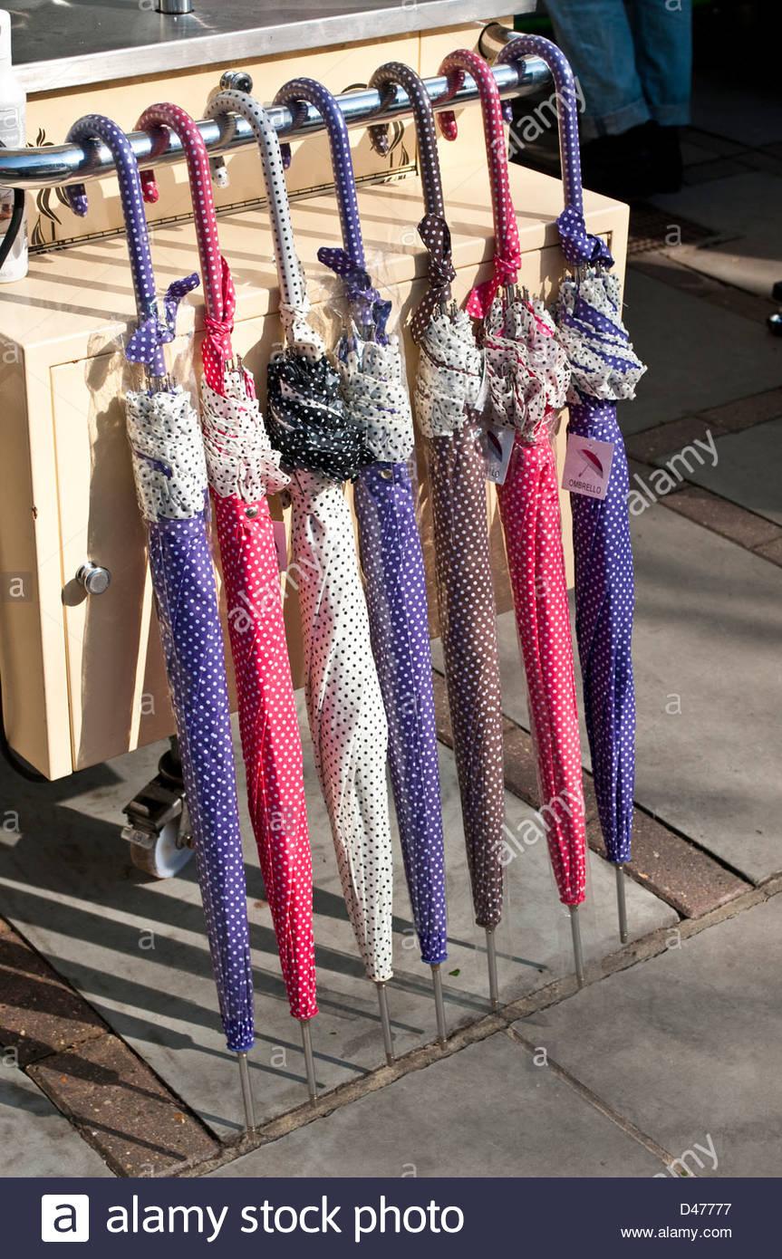 Umbrellas for sale, Portobello Road, Notting Hill, London, W11, UK - Stock Image