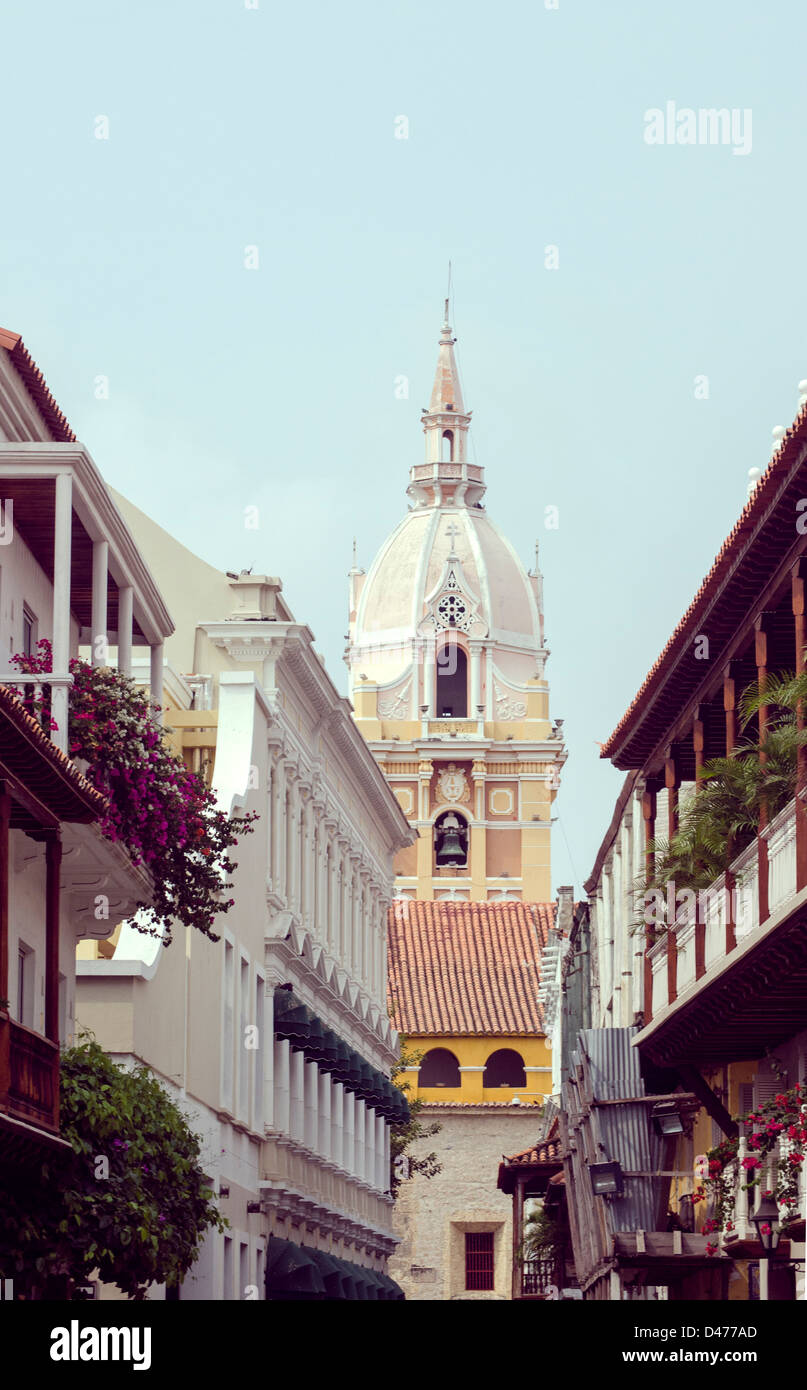 Cartagena Cathedral street view - Stock Image