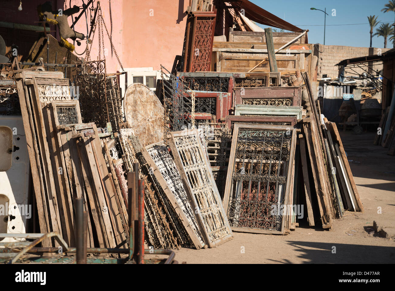 Window frames for sale in a second hand market in Marrakesh, Morocco ...