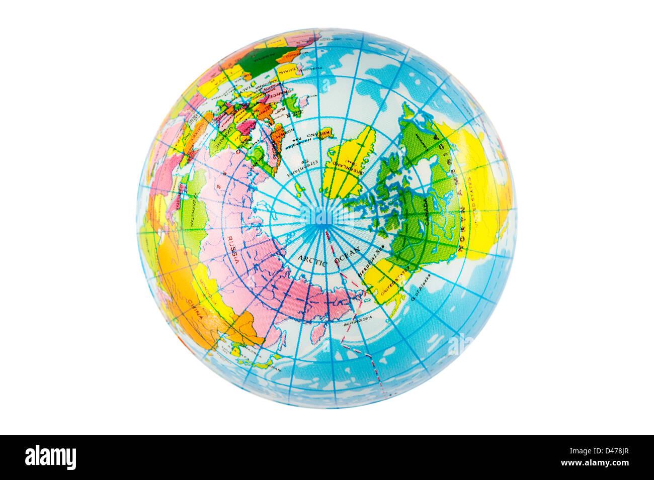 Northern hemisphere view of plastic toy globe ball. - Stock Image