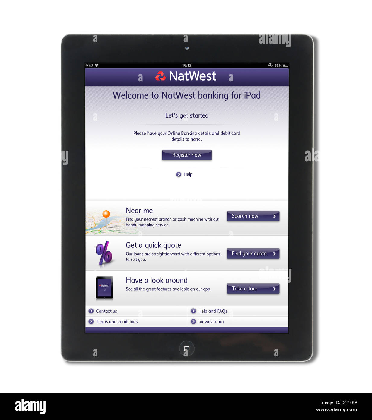 Registering for online banking with NatWest bank on an iPad 4, UK - Stock Image