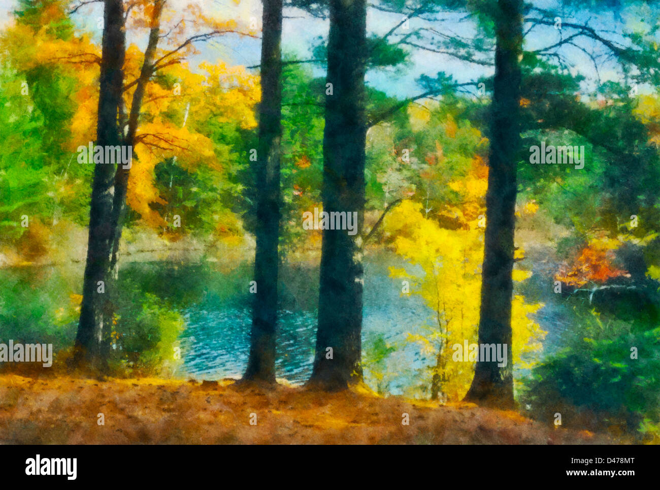 Beautiful painting of a pond surrounded by colorful trees and bushes ...