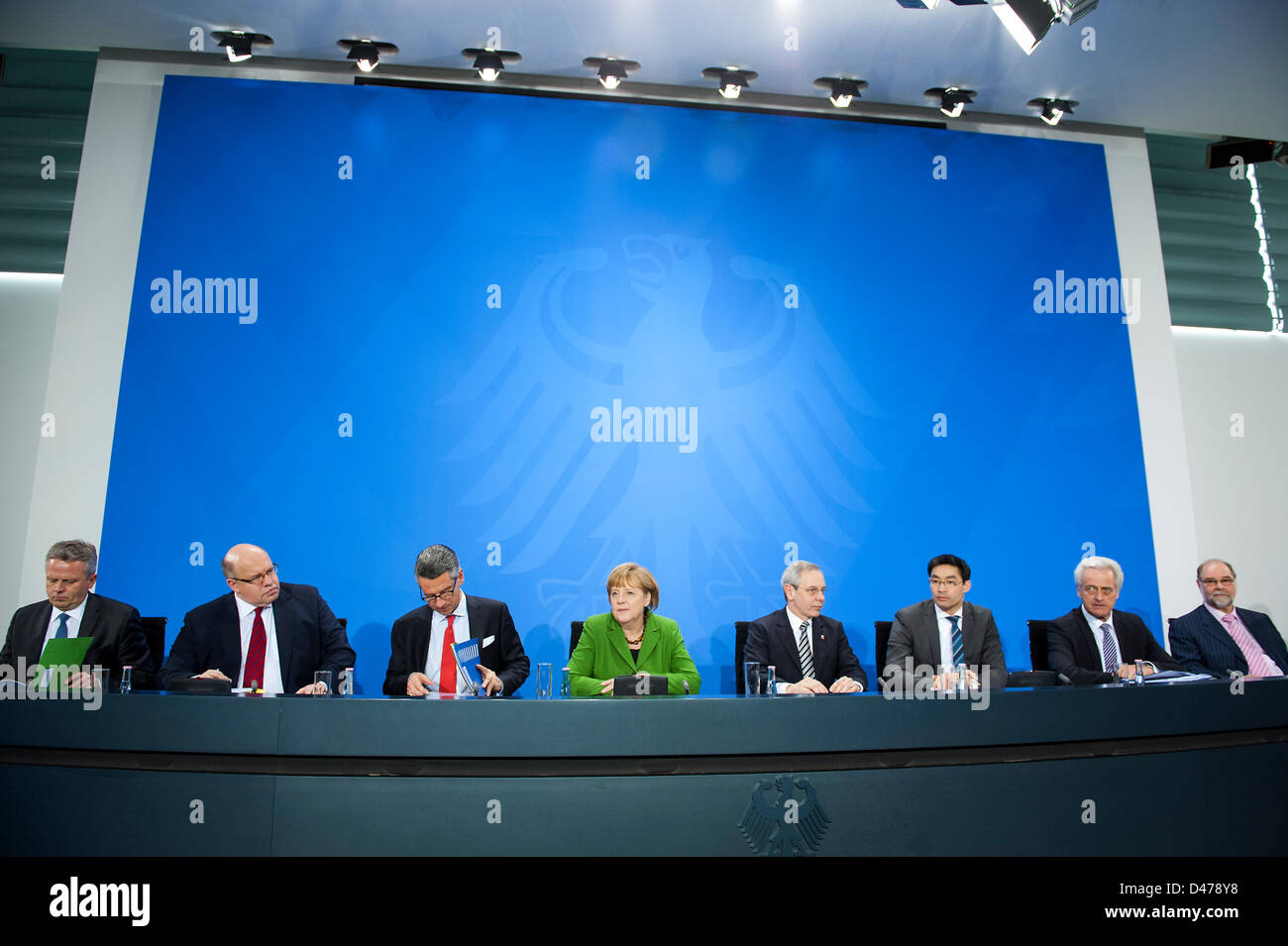 Berlin, Germany. 7th March 2013. German Chancellor Angela Merkel speak in a press conference about the new plans - Stock Image